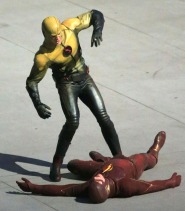 Exclusive... Grant Gustin Films A Fight Scene On The Set Of 'The Flash'